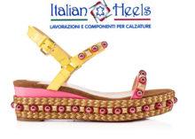 Zeppe fasciate in Pelle/ Rafia Multicolor Intere + Assemblaggio suole + Segni e Incassi su Solette + Fasciatura Solette Sandalo o P/F
